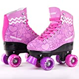 Skate Gear Cute Graphic Quad Roller Skates for Kids and Adults (Graphic Purple, Women's 8 / Men's 7)