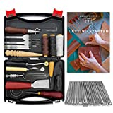 B&B Leather 50 PCS Professional Leather Working Tools and Supplies Kit [Free Users Manual] - Perfect for Beginners DIY Craft Projects requiring Stitching, Stamping, Sewing, Cutting, and Edge Bevelers