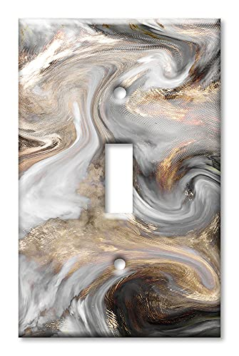 Art Plates - Single Gang Toggle Switch/Wall Plate - Grey and Brown Swirl Marble/Granite Print