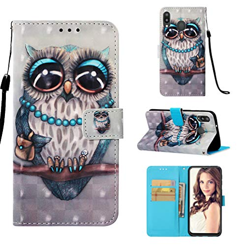 M20 Handytasche Kompatible für Samsung Galaxy M20 Hülle 3D Muster Flip Hülle Cover PU Leder Tasche Handyhülle Schutzhülle Skin Ständer Klapphülle Schale Bumper Magnet Deckel Mädchen-Eule Grün