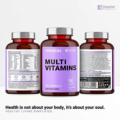 Complete Multivitamin – Die besten Vitamine, die man nur 1 x am Tag nehmen muss: für optimale Gesundheit, Vitalität, Unterstützung des Immunsystems, Zink, Eisen, Magnesium, 100% ETD an A C B2 B3 B6 B7 B12 D E für Männer & Frauen – 90 Tabletten – Qualitativ hochwertige Inhaltsstoffe - 3