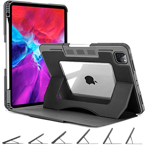 OCYCLONE Funda para iPad Pro de 11 Pulgadas 2020 y iPad Pro de 11 Pulgadas 2018, Resistente a Los Golpes, con Soporte para Lápiz de Apple, Soporte Magnético Multiángulo (Negro)