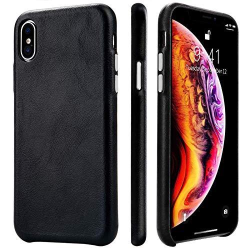 TOOVREN iphone xs ケース レザー iphone x ケース 本革 iphone10ケース 純正 iphone10s ケース おしゃれ iphonex レザー 薄型 ワイヤレス充電対応可能 5.8インチ 黒
