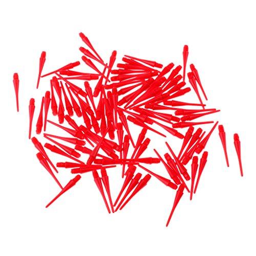 MagiDeal Lot de 100pcs 2BA Pointes de Fléchettes Accessoire Protection Fléchettes Jeu de Fléchettes - Rouge, 30mm