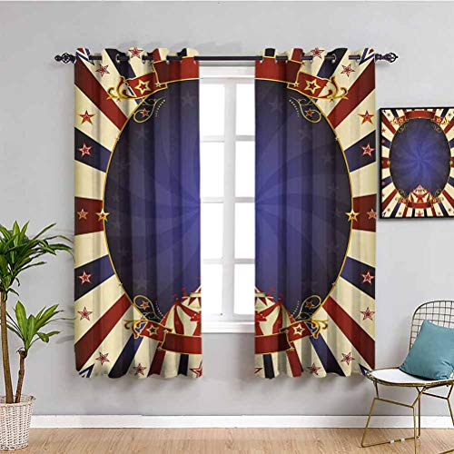 Vintage Blackout Curtains for Bedroom Circus Theme Retro Carnival Tent Ribbon Figures Poster Like Image Reduce light Navy Blue Red Light Yellow W108 x L84 Inch