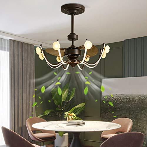 Techo moderno del ventilador con luz y a distancia, 26 pulgadas, regulable, LED, metal techo, 120 W, silencioso, lámpara para salón, comedor, cocina o dormitorio (hoja 3 ABS)