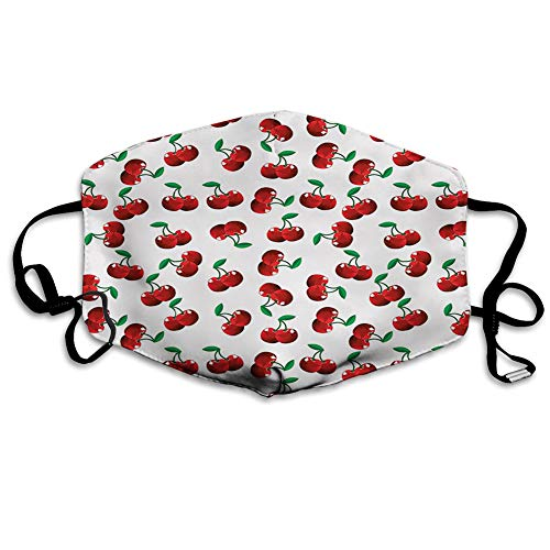 Comfortable Windproof Face cover,Vibrant Cherries Vitamin Agriculture Exotic Summer Garden Pattern,Printed Facial Decorations for unisex