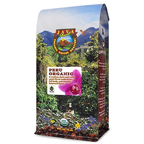 Java Planet, Organic Coffee Beans, Peru Single Origin, Fair Trade, Gourmet Medium Dark Roast of Arabica Whole Bean Coffee, Certified Organic and Fair Trade, Grown at High Altitudes 1lb Bag
