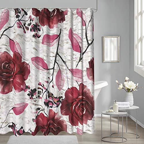 Burgundy Floral Shower Curtains for Bathroom, Red Rose Flower Vintage Watercolor for Fabric Bathroom Curtains Waterproof, 72'x72', Burgundy and Gray
