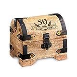 Casa Vivente Contenitore in Legno Chiaro con Incisione - 50 Anni - Confezione per Regalo - Scatola Portaoggetti Vintage - Portagioie - Oggetti per la Casa - Idee Regalo Compleanno - 10 x 7 x 8,5 cm