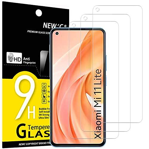 NEW'C 3 Pezzi, Vetro Temperato per Xiaomi Mi 11 Lite/Mi 11 Lite 5G, Pellicola Prottetiva Anti Graffio, Anti-Impronte, Senza Bolle, Durezza 9H, 0,33mm Ultra Trasparente, Ultra Resistente