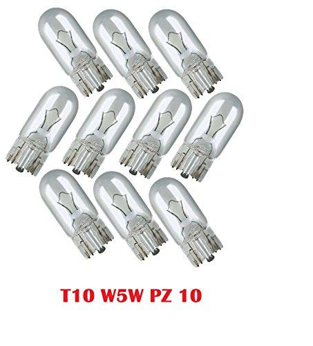 LUCI DI POSIZIONE 10 PEZZI LAMPADE LAMPADINE TUTTO VETRO T 10 12V 5W