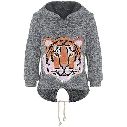 BEZLIT Mädchen Kapuzen Pullover Pulli Wende-Pailletten Sweatshirt Hoodie 21484 Anthrazit Größe 164