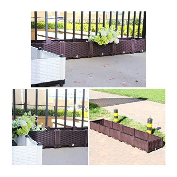 Hershii Square Deepened Garden Raised Bed Kits Plastic Plant Containers Indoor Outdoor Vegetables Herbs Flowers Growing Planter Box - Black - 15.35 X 15.35 X 14.96 Inches 7 MULTIFUNCTIONAL: This planter box can easily be converted to indoor or outdoor use, space saving design, great for vegetables, herbs, plants, succulents and flowers growing. A great raised bed for all enthusiastic garden lovers. Perfect for planting in the balcony, terrace, garden, backyard, patios, meadow or the corners in your living room. DURABLE & MOISTURE MAINTAINENCE: Made of PP material, sturdy and weather-resistant. It's enough to strongly support the weight from the garden bed itself and plant. Water barrier & bottom board design, filtering excess water from the soil and store it in the bottom boards.It can kindly keep and maintain moisture for plant inside. ATTRACTIVE APPEARANCE: Great gifts for families, parents, friends, enjoy the joy of pastoral life. For families with children, you can grow vegetables, plants, flowers, herbs on the balcony, let the children know the nature and cultivate children's Hands-on ability, responsibility and love. Eating vegetables grown by yourself is also very healthy.