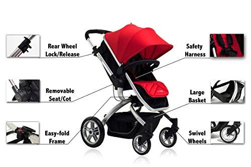 Image of LA Baby Red Oak Standard Stroller, Red/Black