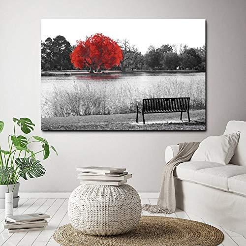 Geiqianjiumai Moderne nordic zwart-wit landschap print rood meer boom canvas schilderij muurschildering woonkamer huisdecoratie frameloze schilderij