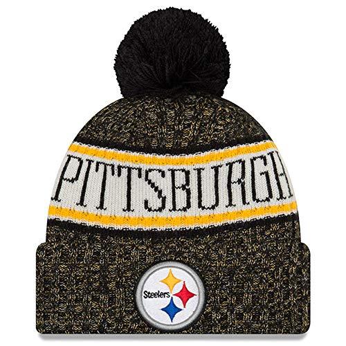 New Era Knit Pittsburgh Steelers Biggest Fan Redux Sport Knit Winter Stocking Beanie Pom Hat Cap NFL