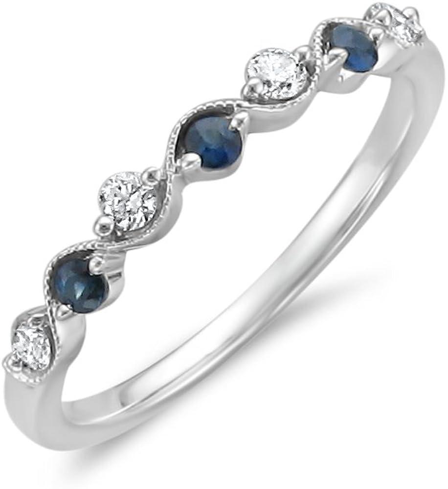 14k White Gold 7-Stone Round Diamond & Blue Sapphire Wedding Band Ring (1/4 cttw, I-J, I2)