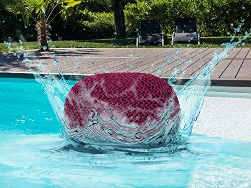 Soma Outdoor Pouf Sitzpouf 100% wasserfest Grobstrick-Optik Ø 55 cm extrahoch 37 cm Garten draußen (BxHxL) 55 x 37 x 55 cm Bordeaux - Amaranth