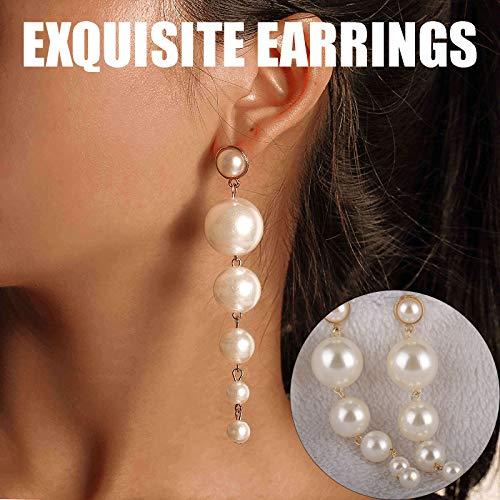 Janly Clearance Sale Pendientes para mujer, elegantes para mujer, pendientes de perlas de cadena larga, para el día de San Valentín, regalo de cumpleaños para mujeres y niñas (blanco)