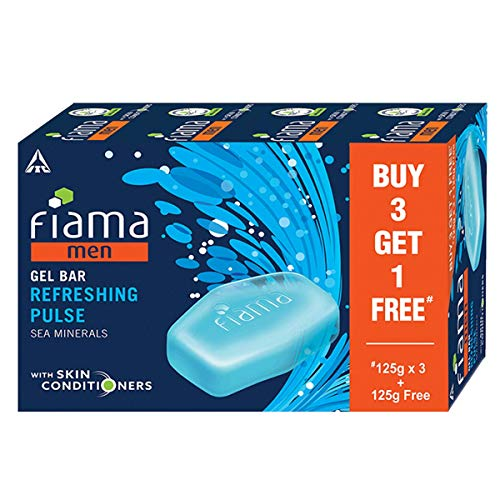 Fiama Men Refreshing Pulse Gel Bar, with Sea Minerals, with skin conditioners - 125g (Buy 3 Get 1 Free)