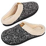 VeraCosy Zapatillas de Estar por Casa Hombre Espuma de Memoria Cómoda Forro de Felpa Interior&Exterior Antideslizantes Pantuflas,Color Negro,Talla 42-43 EU