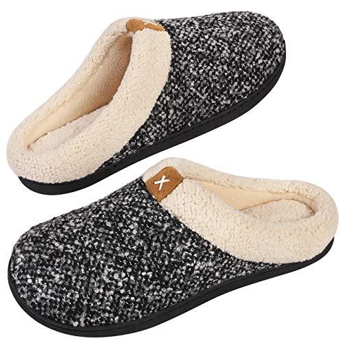 VeraCosy Komfortable Herren Memory Foam Hausschuhe, wollähnliche Plüschflausch gefütterte Pantoffeln mit Gummisohle für Drinnen und Draußen, Hellschwarz, 44/45 EU