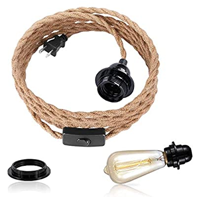 Plug in Hanging Light Kit, Vintage DIY 1 Light Twisted Hemp Rope Pendant Light Cord Kit with On/Off Switch Socket Industrial Pendant Light Fixtures with Plug in Cord Retro Farmhouse Lamp Cable