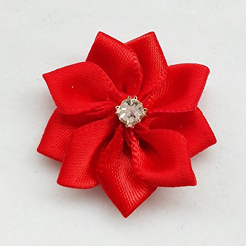 "Chenkou Craft Red 40pcs 28mm(1 1/8"") Ribbon Flowers Bows Rhinestone Wedding Ornament Appliques"