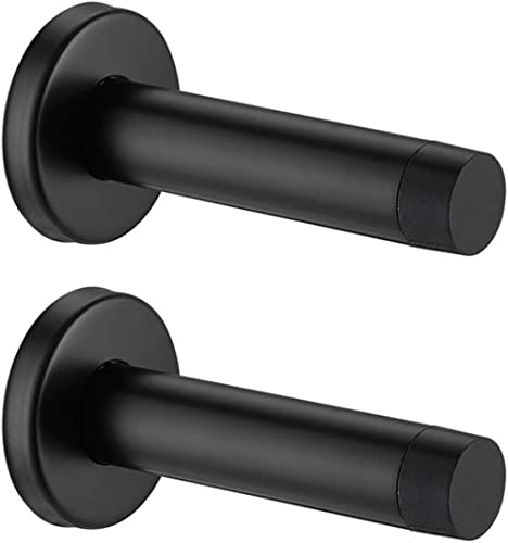 JQK Door Stopper Black, 304 Stainless Steel Sound Dampening Door Stop Bumper Wall Protetor 2 Pack, Matte Black, DSB5-...