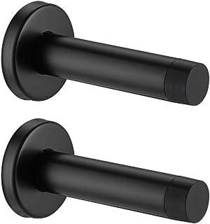 JQK Door Stopper Black, 304 Stainless Steel Sound Dampening Door Stop Bumper Wall Protetor 2 Pack, Matte Black, DSB5-PB-P2