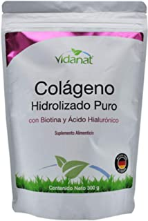 Colágeno Hidrolizado Puro con Biotina y Ácido Hialurónico 300g. Vidanat