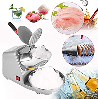 Electric Ice Crusher, Commercial Stainless Steel Blade Icee Crusher Ice Shaver Machine Snow Cone Maker for Party Restaurant Home Use 110V