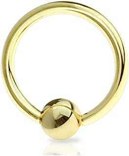 18g, 16g, 14g, 12g, 10g, 8g, 6g, 4g, 2g Gold IP Over Stainless Steel Captive Bead Ring (Sold per Piece)