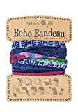 """Natural Life Boho Bandeau Headband - Versatile, Wide, Hairband That Stays In Place, 12 Ways To Wear, The Perfect Accessory - Colorful Mixed Print 18""""L x 10""""W"""