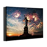 Statue of Liberty Canvas Wall Art, Photography Framed Artwork Oil Painting, Ready to Hang Vintage American Architecture Canvas Prints Wall Decor for Home Office Bedroom Living Room, 16'x12'