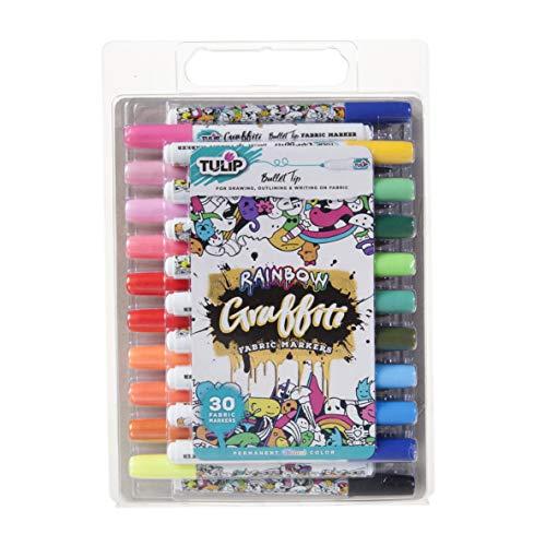 Tulip Graffiti Fabric Markers, 30 Pack, Rainbow Bullet 30 Count