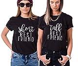 Funny Short Tall Tee BFF Matching Shirts Best Friends Women Partner Friendship Top(BK-S+M)