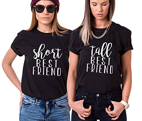 Funny Short Tall Tee BFF Matching Shirts Best Friends Women Partner Friendship Top(BK-S+M)