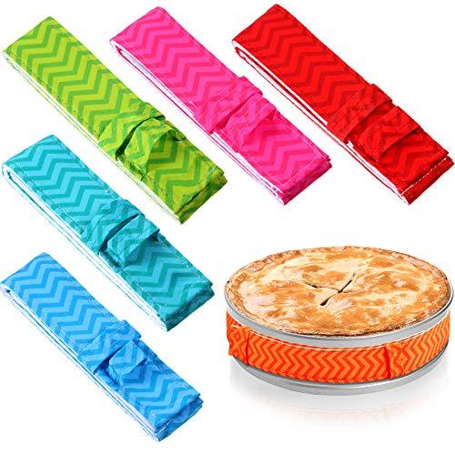 6 Pieces Bake Even Cake Strips Colorful Cake Pan Baking Strips Absorbent Thick Baking Tray Protection Strap for Clean Edges Baking (Classic Stylish)