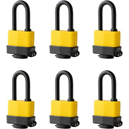 SECOLID Keyed Different Weatherproof Laminated Steel Keyed Padlocks,40mm Heavy Duty Lock Key 1-9//16 Wide Body 2-inch Long Shackle Pack of 4