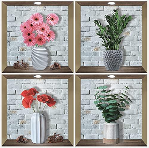 ANHUIB 4 Stück 3D Vase Wandaufkleber,Vasen mit Blumen Wandaufkleber für Wohnzimmer Wanddeko,Pflanze Wandsticker,Vinyl Abnehmbare Flasche und Grünes Blatt Wandbilder für Küche Schlafzimmer Büro,30×30CM