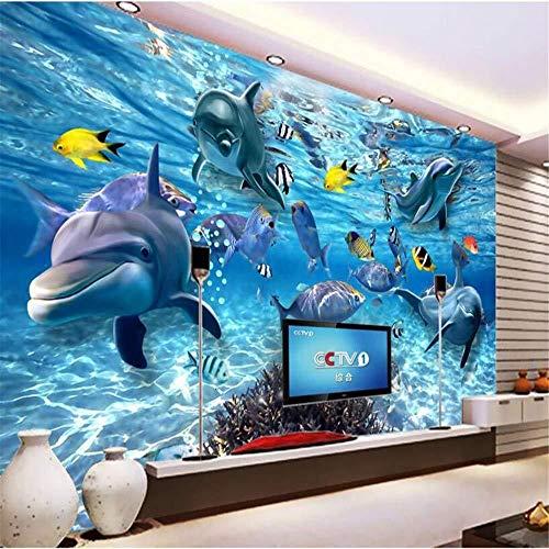 Fototapete Wallpaper Wandbild Wandaufkleber Papel De e 3D Unterwasser Unterwasserwelt Fische Foto 3D-Tapete Kinderzimmer Tv Hintergrund 3D Wallpaper-200 * 140 cm