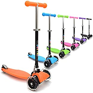 3Style Scooters® RGS-1 Little Kids Three Wheel Kick Scooter In Orange - Perfect for Children Aged 3+ - LED Light-Up Wheels, Foldable Design, Adjustable Handles & Lightweight Construction