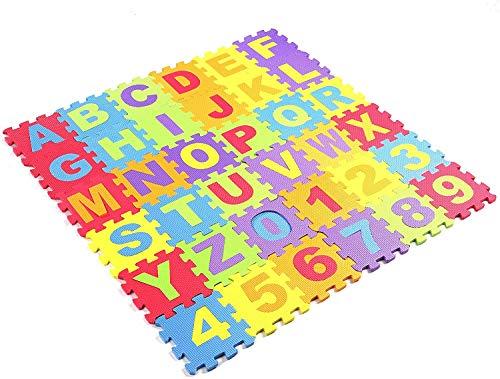Jueyan® 36 Piezas Alfombras Infantil Alfombras Puzzle de Goma EVA Alfombrilla de Juego para Niños y Bebés Suelo Protectora de Espuma Puzzles de Suelo Alfombrilla,Diseño de Letras y Números,Multicolor