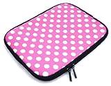 Emartbuy® BigBen Unity Tab 7 Tablet PC 7 Zoll Polka Dots Hot Rosa / Weiß Wasserdicht Neopren weicher Reißverschluss Kasten Hülsen Abdeckungs ( 7 Zoll eReader / Tablet / Netbook )