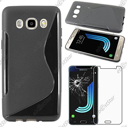 "ebestStar - Funda Compatible con Samsung J5 2016 Galaxy SM-J510F Carcasa Gel Silicona Motivo S-línea, S-Line Case Cover, Negro +Cristal Templado Protector Pantalla [Aparato:145.8x72.3x8.1mm 5.2""]"