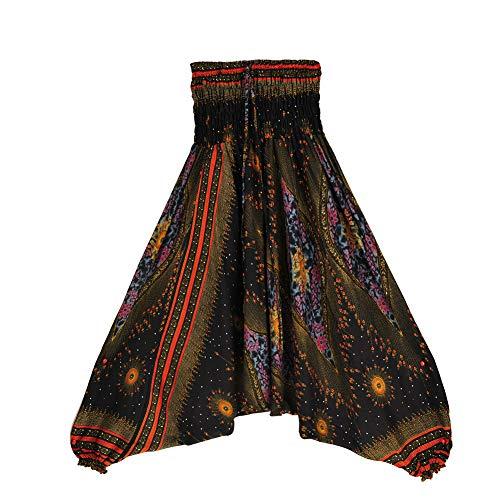 Fansu Damen Haremshose, Yoga Hosen mit Kordelzug Baggy Hippie Boho Hose Hosenrock Aladinhose Pumphose Pluderhosen (one Size,schwarz)