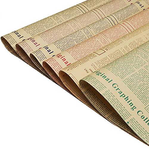 30 Piezas Papel Regalo de Periódico Vintage, Papel de Regalo de Cumpleaños, Papel de Regalo Vintage, para Regalos, Libros, Flores y Souvenirs (6 Colores)