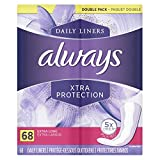 Always Xtra Protection Daily Feminine Panty Liners for Women, Extra Long, Unscented, 68 Count - Pack of 4 (272 Count Total)